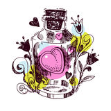 Romantic love potion. Heart  of an elixir Stock Images