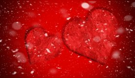 Romantic love red hearts with smoke on background for copy space. With snow texture overlays. Design template . Heart for Valentine`s Day and Woman day royalty free stock photo