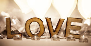 Romantic love sign in wooden letters Royalty Free Stock Image