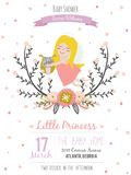 Romantic and lovely baby shower card for girl Stock Image