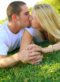 Romantic Lovely Caucasian Couple Kissing Outdoor Stock Photography