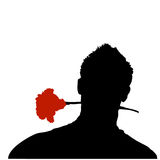 Romantic lover silhouette. Vector illustration of young charming lover guy with a rose close between his lips Royalty Free Stock Images