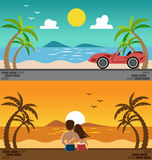 Romantic lover watching sunset and sport car in the beach Stock Photo