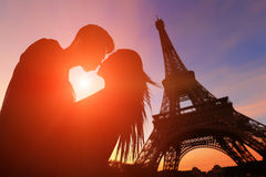 Romantic lovers with eiffel tower Royalty Free Stock Photo