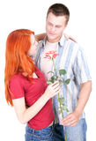 Romantic lovers with rose Royalty Free Stock Photography