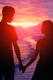 Romantic lovers with sea Royalty Free Stock Images