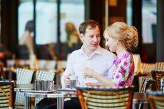 Romantic loving couple drinking coffee Stock Photos