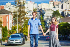 Romantic loving couple having a date in San Francisco Stock Photo