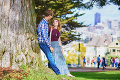 Romantic loving couple having a date in San Francisco Stock Images
