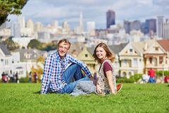 Romantic loving couple having a date in San Francisco Royalty Free Stock Images