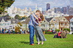 Romantic loving couple having a date in San Francisco Stock Photography