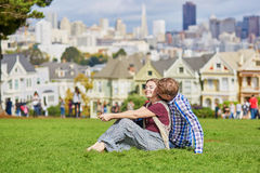 Romantic loving couple having a date in San Francisco Royalty Free Stock Photo