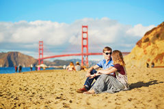 Romantic loving couple having a date in San Francisco, California, USA Royalty Free Stock Photo