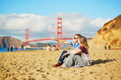 Romantic loving couple having a date in San Francisco, California, USA Royalty Free Stock Images