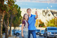 Romantic loving couple making selfie in San Francisco Royalty Free Stock Image