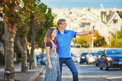Romantic loving couple making selfie in San Francisco Royalty Free Stock Photography