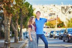 Romantic loving couple making selfie in San Francisco Stock Photo