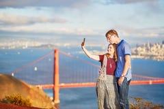 Romantic loving couple making selfie in San Francisco Royalty Free Stock Photo