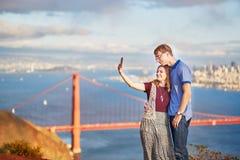 Romantic loving couple making selfie in San Francisco Stock Photos