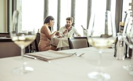 Romantic lunch in a fancy restaurant Stock Image