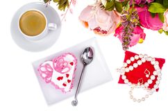 Romantic lunch with gift for Valentine`s Day stock photos