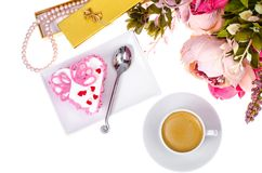 Romantic lunch with gift for Valentine`s Day stock image
