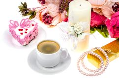 Romantic lunch with gift for Valentine`s Day stock images