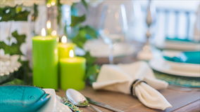Romantic lunch table set stock video footage