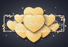 Romantic luxury card for Valentines day. Big golden hearts of glitters. Curl gold ribbons and confetti. Abstract advertising banne. R with black frame and text Royalty Free Stock Photography