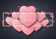 Romantic luxury card for Valentines day. Big light pink hearts of glitters. Curl ribbons and confetti. Abstract advertising banner. With black frame and text Vector Illustration