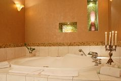 Romantic luxury hotel bathroom Stock Photos