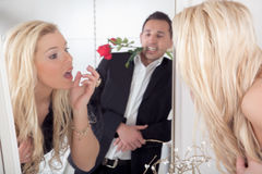 Romantic man and a beautiful woman Royalty Free Stock Photos