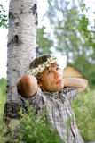 Romantic man daydreaming Royalty Free Stock Image