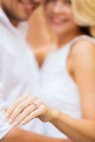 Romantic man proposing to beautiful woman Royalty Free Stock Image