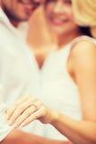Romantic man proposing to beautiful woman Stock Photo