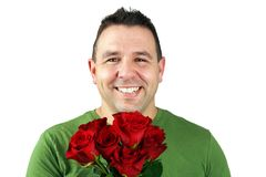 Romantic man with red roses Royalty Free Stock Photography