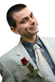 Romantic man with rose Royalty Free Stock Photos