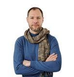 Romantic man in scarf. Isolated on the white background Stock Photo