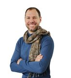 Romantic man in scarf. Isolated on the white background Royalty Free Stock Images