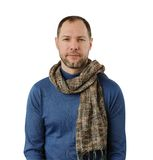 Romantic man in scarf isolated on the white. Background Stock Images