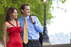 Romantic Man and Woman Couple in London, England. Romantic man and woman couple by the River Thames in London, England, Great Britain, Europe stock image