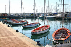 Romantic marina with yachts. retro filtered image Royalty Free Stock Images