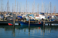 Romantic marina with yachts. retro filtered image Stock Photo