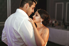 Romantic married couple bride and groom dancing at wedding reception in france royalty free stock photo