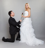Romantic married couple bride and groom with rose. Wedding day. Portrait of romantic married couple blonde bride and enamored groom giving a rose to girl. Full Stock Photos