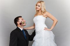 Romantic married couple bride and groom with rose Royalty Free Stock Image