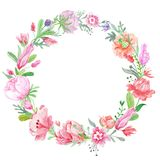 Romantic Meadow Floral Wreath Stock Photography