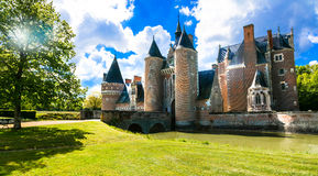 Romantic medieval castles of Loire valley - beautiful Chateau du Stock Photos
