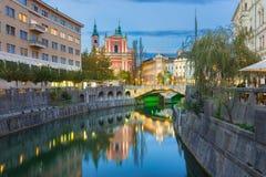 Romantic medieval Ljubljana, Slovenia, Europe. Stock Photos
