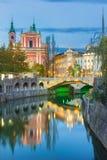 Romantic medieval Ljubljana, Slovenia, Europe. Stock Image